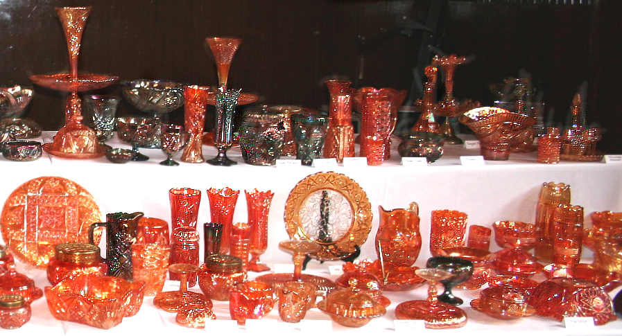 Display of Brockwitz Carnival Glass