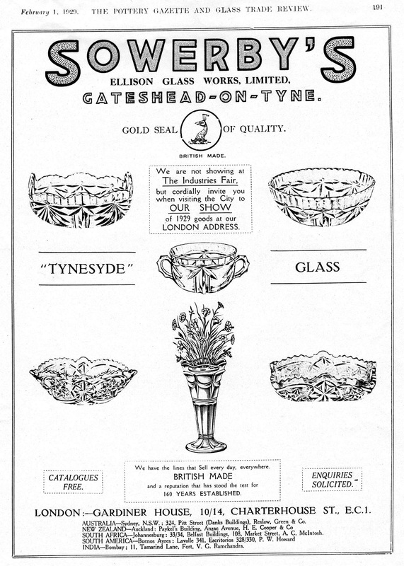 Sowerby ad in Pottery Gazette, 1929