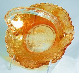 George VI Carnival Glass Basket