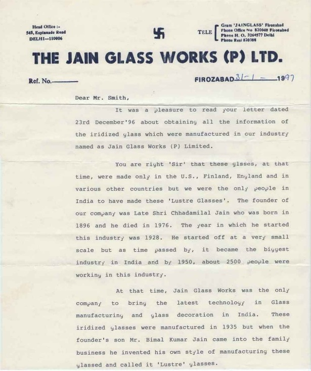 Jain Glassworks letter
