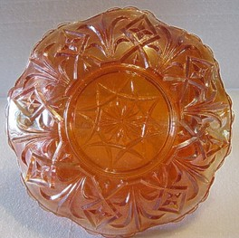 Diamond Point Carnival Glass Basket