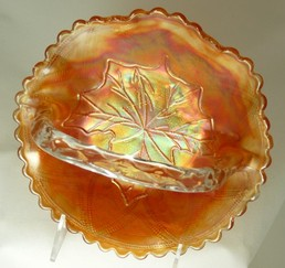 Maple Leaf Carnival Glass Basket