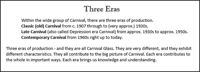 The Three Carnival Eras